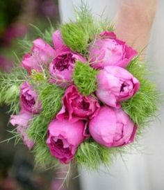 Pink Green Wedding Bouquets- love the feathery green, with white flowers instead