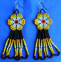Mexican Huichol Beaded earrings by Aramara on Etsy