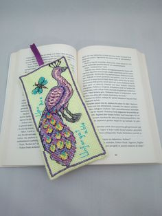 Handmade / Peacock / You Are Unforgettable / Animals / Cross Stitch Bookmark / Book Lovers / Bookmark / Bookworm / Gift by AtelierbyMsAries on Etsy