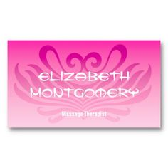 Pink Massage - Spa Appointment Business Card $23.95