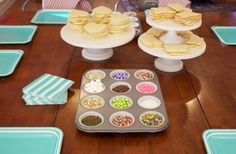 [dandee]: Cookie Decorating Party - super sweet and simple 6 year old birthday party. simple aprons as party favors.