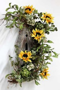 Country Birdhouse front Door Hanging, Country Sunflowers!