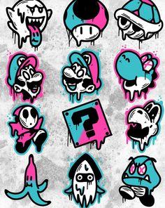 Super Mario World Graffiti Doodles, Graffiti Tattoo, Graffiti Drawing, Graffiti Lettering, Graffiti Art, Graffiti Alphabet, Trippy Drawings, Tattoo Design Drawings, Art Drawings Sketches