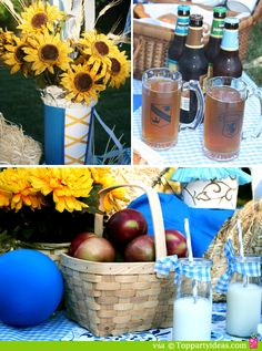 Oktoberfest Party - Sunflowers and baskets Oktoberfest Party, Oktoberfest Decorations, German Oktoberfest, Oktoberfest Halloween, Halloween Party, Sauerkraut, Theme Baskets, German Wedding, Adult Party Themes