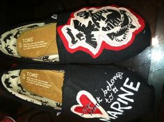 My next craft project, making my own USMC Toms to show my love & support Usmc Love, Marine Love, Military Love, Marine Sister, Usmc Clothing, Marines Girlfriend, Proud Wife, Love My Man, Lucky Girl