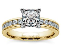 Princess Channel Diamond Engagement Ring in Yellow Gold  http://www.brilliance.com/engagement-rings/channel-round-diamond-ring-yellow-gold-1/2-ctw