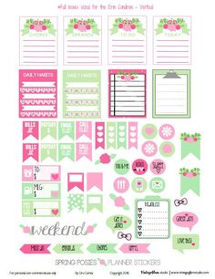 Spring Posies Planner Stickers | Free for personal use only - suitable for Erin…