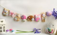 Felt Pastel Woodland Garland. Handmade set of by PollyChromeCrafts