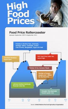 The Food Price Rollercoaster. Infographic part one from the World Food Programme http://www.wfp.org/stories/rising-food-prices-infographic#