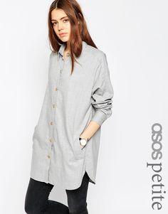 Bild 1 von ASOS PETITE – Oversized-Hemd aus weichem Twill
