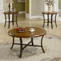 Bingham 3 Piece Coffee Table Set by Wildon Home. $245.00. 701520 Includes: -Set includes two end tables and one coffee table. Construction: -Metal base construction. Color/Finish: -Brown cherry finish. Assembly Instructions: -Assembly required. Dimensions: -Coffee table dimension: 19'' H x 36'' W x 36'' D.-End table dimension: 23'' H x 24'' W x 24'' D. Collection: -Bingham collection.