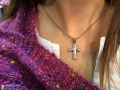 Handmade 925 Silver Cross with Zircon by ZografosCrosses on Etsy