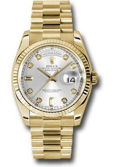 36mm 18K yellow gold case, fluted bezel, silver dial, 8 round and 2 baguette diamond hour markers, and President bracelet.