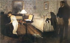 """Edgar Degas-Interior (The Rape), 1868 """"this painting has posed a conundrum for art historians since its creation. The most wide agreement is that the painting refers to a scene in the novel Therese Raquin, by Emile Zola, published in 1867."""