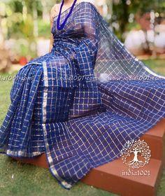 Elegant Kota Cotton Saree with zari checks