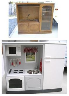 There are ENDLESS hacks online to turn old furniture into play kitchens for the kiddos. This is one of our favs.