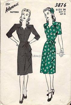 Vintage 1945 Sweetheart Neckline Dress Pattern Side Drape Skirt 1945 Advance 3876 Bust 32 - Vintage 1945 Sweetheart Neckline Dress Pattern Side by sydcam123