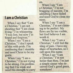 "When I say that ""I am a Christian"""