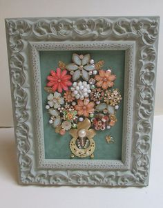 Jeweled Framed Jewelry Flower Bouquet Green Peach by audreymivey