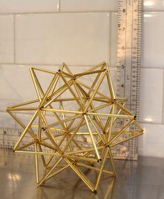 Brass Pollen ball mobile - finnish himmeli sculpture by Megin Sherry. #brass #metal #geometric