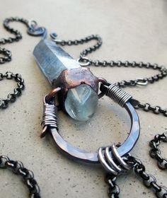 Tribal Amulet with Aqua Aura Quartz and Blue Topaz by SilviasCreations, $149.00