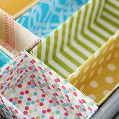 Turn Cardboard Boxes into Drawer Inserts Get the instructions here.  Cut off the bottoms of empty cereal, plastic baggie, or trash bag containers and wrap them neatly in fabric or gift-wrap. These handy inserts will help you tackle the junk drawer in your kitchen.