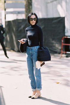 Before Celine, Paris, October 2015. Bell sleeves. Recreate her look (kind of): Loeil bell sleeve turtleneck...