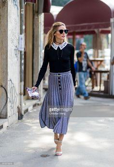 Olivia Palermo outside Armani during Milan Fashion Week Spring/Summer 2017 on September 23, 2016 in Milan, Italy.