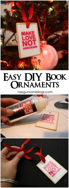 Quick and easy tutorial for Book Lover Christmas Ornaments Harry Potter and Hunger Games - Rae Gun Ramblings