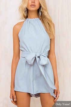 Halter Tie PLaysuit with Cut Out Detail-YOINS