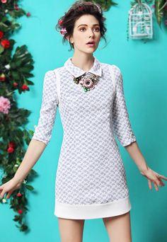 Blue Lapel Puff Sleeve Jacquard Dress