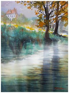 rainy afternoon - france by Thomas W. Schaller Watercolor ~ 24 inches x 18 inches