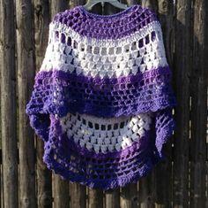 Shades of Purple Crocheted Poncho Asymmetrical by ToppyToppyKnits