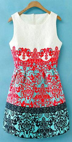 Mixed Color Floral Print Crewneck Tank Top Dress Sundress