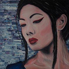 Schilderij van een Aziatische vrouw. Geschilderd met acrylverf dmv meerdere technieken.