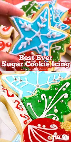 christmas cookie frosting Best Tasting Sugar Cookie Icing - 4 ingredients and 5 minutes! People have been begging for this frosting recipe for years. Chewy Sugar Cookies, Best Sugar Cookies, Christmas Sugar Cookies, Christmas Snacks, Sugar Cookies Recipe, Cookies Et Biscuits, Holiday Cookies, Cream Cookies, Christmas Recipes