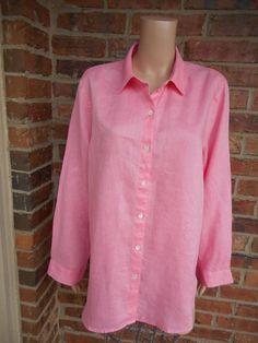 "J. JILL 100% Linen Tunic Blouse L Large Shirt Top Long Sleeve Bust 46"" Pink #JJill #Blouse #Casual"