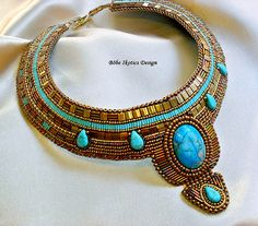 Bead Embroidery  Necklace  Collar Blue Bronze  Handmade Bead Embroidered OOAK