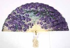 Pleated Lithograph on cloth fan, purple violet tree, celluloid. Antique Fans, Vintage Fans, Hand Held Fan, Hand Fans, Lace Gloves, Purple Shoes, All Things Purple, Pansies, Beautiful Hands