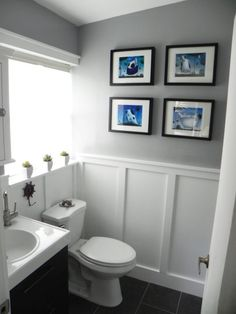 "Before & After: The ""Oops, You Got Us in Trouble"" Bathroom Makeover — Renovation Project; godmorgon vanity with board and batten Wainscoting Styles, Wainscoting Bathroom, Downstairs Bathroom, Bathroom Renos, Bathroom Renovations, Master Bathroom, Bathroom Ideas, Bathroom Makeovers, Budget Bathroom"