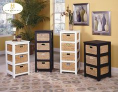 Homelegance 474-475 Series Storage Cabinets with Baskets--3 Drawer 16W x 18D x 31H In White or Black, 4 Drawer 16W x 18D x 40H In Black or White
