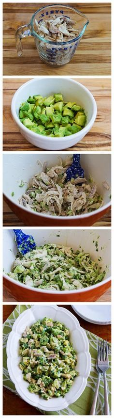 Chicken and Avocado Salad with Lime and Cilantro -- fantastic flavor. Don't miss the mayo at all!
