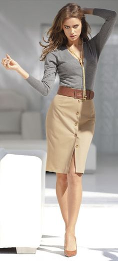 Women's fashion | Grey sweater, camel midi skirt, brown belt and heels, statement necklace
