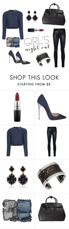 """""""Girl Gang: Girls Night Out Contest"""" by acreatorsvision ❤ liked on Polyvore featuring MAC Cosmetics, Christian Louboutin, TIBI, Versace, WithChic, Lois Hill, NARS Cosmetics and Bally"""