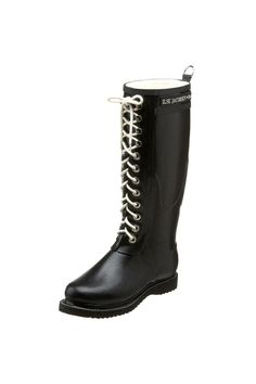 Despite the rain or snow, make heads turn with your trendsetting all-weather-resistant boots from Ilse Jacobsen. Crafted from 100% natural rubber upper, these perdurable rain boots are not only stylish but fully functional; waterproof construction and a cotton fleece lining keeps out frigid weather and provides soft, interior comfort. Other features include its military boot-style lacing, bold logo detail at the shaft, and a pull tab at the back for easier entry. Durable rubber tread offers…