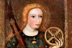 Legendary Life of Saint Catherine of Alexandria: St Catherine, in 14th century painting by Master Theodoric, commissioned by King Charles IV of Bohemia for the Chapel of the Holy Cross at Karlstejn Castle