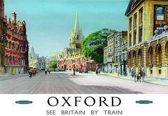 oxford vintage travel poster