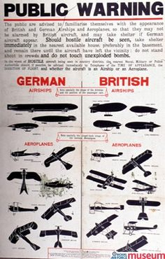 """'Public Warning' poster.    This poster, entitled """"Public warning"""", was produced in 1915. The British public were encouraged to familiarise themselves with the appearance of hostile aircraft in the event of air raids."""