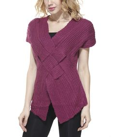 Look at this Simply Couture Purple Crisscross Pullover on #zulily today!