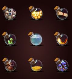 28 unique magic bottle icons with different labels, content and colored liquids. Every icon is about 512x512 pixels. Available formats: PNG, PSD, EPS (100% vector)